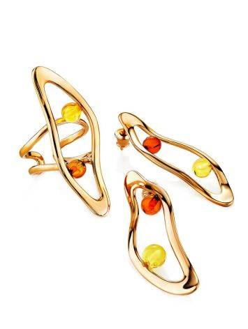 Sleek Rose Gold Plated Amber Stud Earrings The Palazzo, image , picture 4