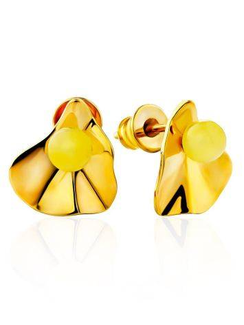 Glossy Gilded Silver Amber Stud Earrings The Palazzo, image