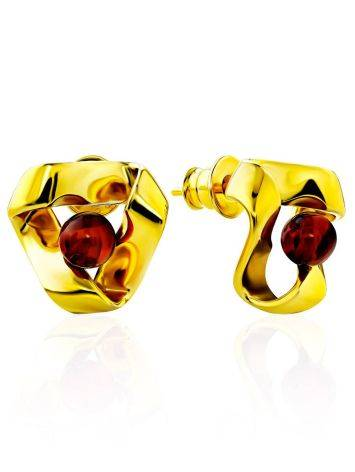 Twisted Design Gilded Silver Amber Stud Earrings The Palazzo, image