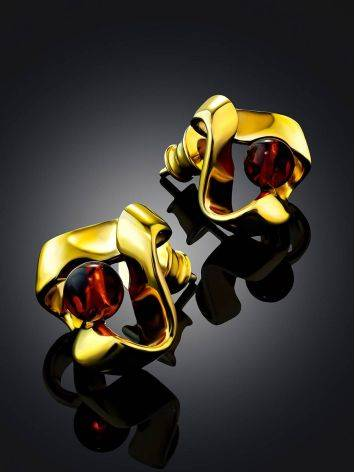 Twisted Design Gilded Silver Amber Stud Earrings The Palazzo, image , picture 2