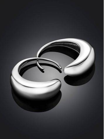 Glossy Sterling Silver Drop Shaped Earrings The Liquid, image , picture 2