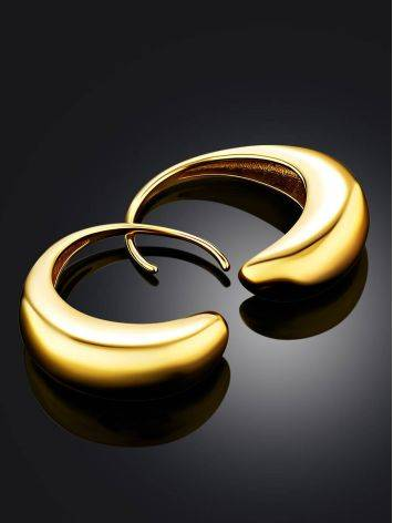 Bright Gold Plated Silver Half Hoop Earrings The Liquid, image , picture 2