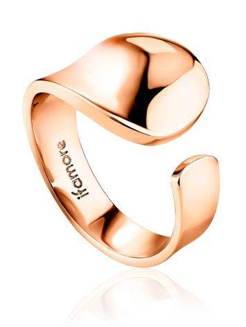 Sleek Rose Plated Silver Ring The Liquid, Ring Size: Adjustable, image
