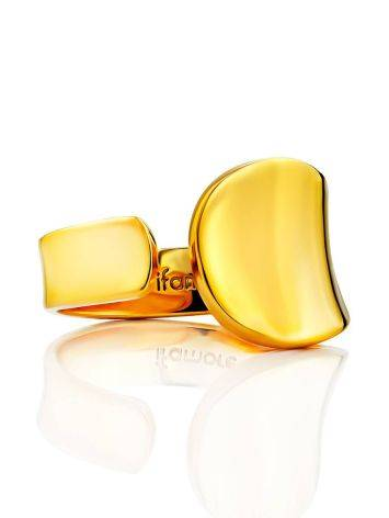 Glossy Gilded Silver Adjustable Ring The Liquid, Ring Size: Adjustable, image , picture 3