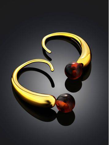 Bright Gilded Silver Amber Earrings The Palazzo, image , picture 2