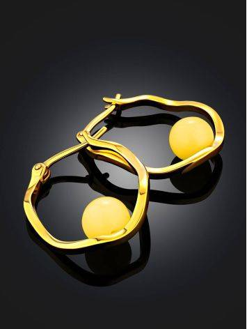Curvaceous Gilded Silver Amber Hoop Earrings The Palazzo, image , picture 2