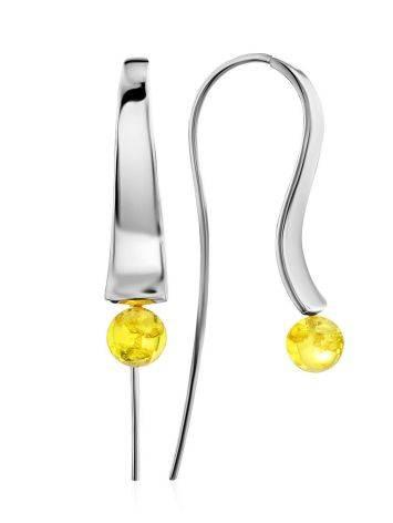 Silver Lemon Amber Hook Earrings The Palazzo, image