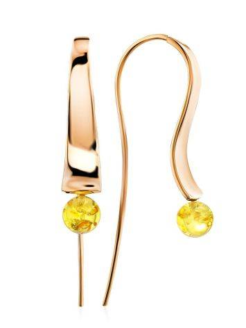 Designer Rose Plated Silver Amber Hook Earrings The Palazzo, image