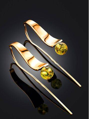 Designer Rose Plated Silver Amber Hook Earrings The Palazzo, image , picture 2