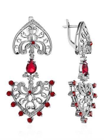 Heart Motif Silver Crystal Dangle Earrings, image