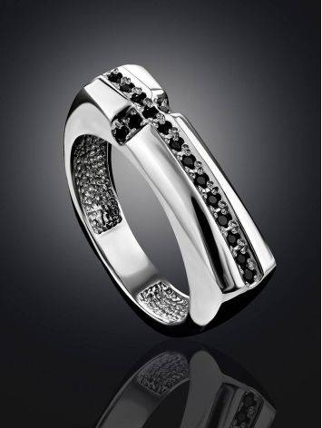 Trendy Geometric Silver Crystal Ring, Ring Size: 6.5 / 17, image , picture 2