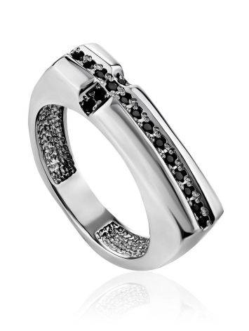 Trendy Geometric Silver Crystal Ring, Ring Size: 6.5 / 17, image