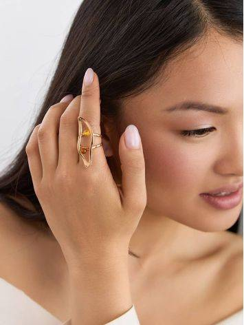 Bright Rose Gold Plated Amber Ring The Palazzo, Ring Size: Adjustable, image , picture 3