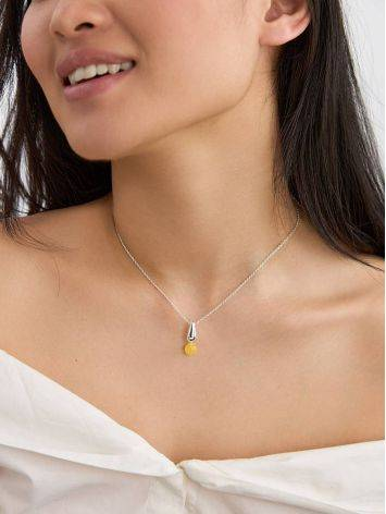 Chic Silver Amber Pendant Necklace The Palazzo, image , picture 4