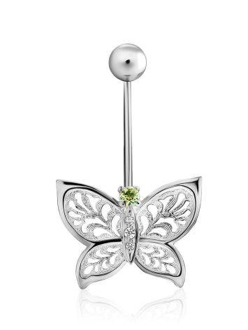 Butterfly Motif Silver Chrysolite Navel Piercing, image