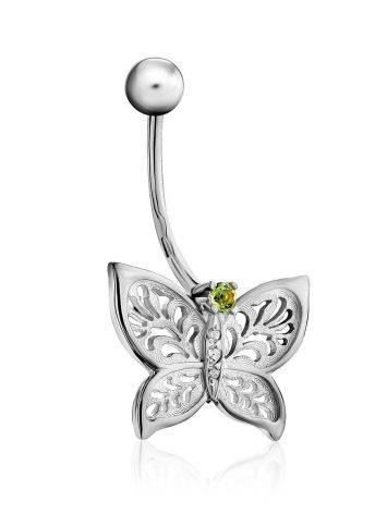 Butterfly Motif Silver Chrysolite Navel Piercing, image , picture 3