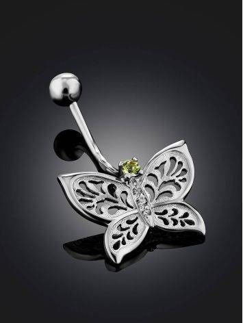 Butterfly Motif Silver Chrysolite Navel Piercing, image , picture 2