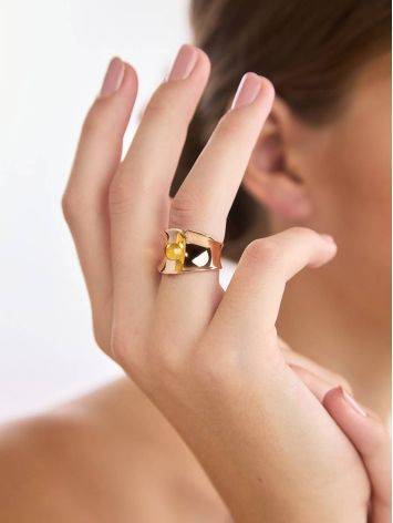 Fashionable Rose Plated Silver Amber Ring The Palazzo Collection, Ring Size: Adjustable, image , picture 3