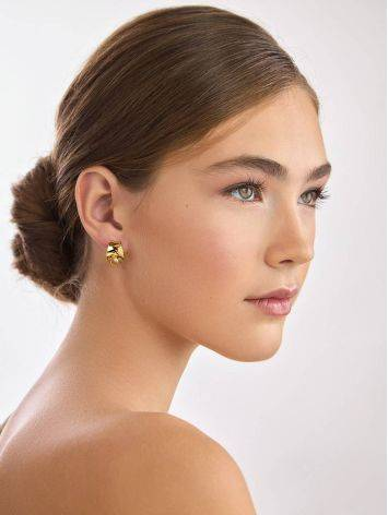 Trendy Gilded Silver Amber Half Hoop Earrings The Palazzo, image , picture 4