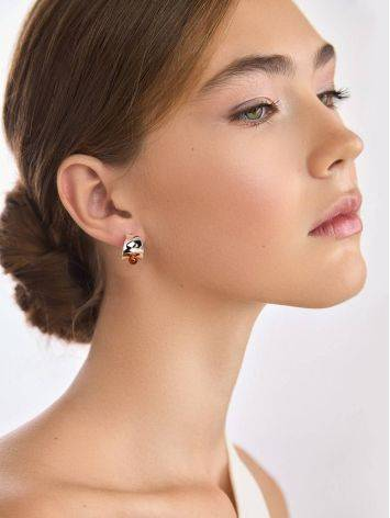 Boho Chic Silver Amber Stud Earrings The Palazzo, image , picture 4