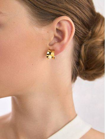 Lustrous Gilded Silver Amber Stud Hoop Earrings The Palazzo, image , picture 4