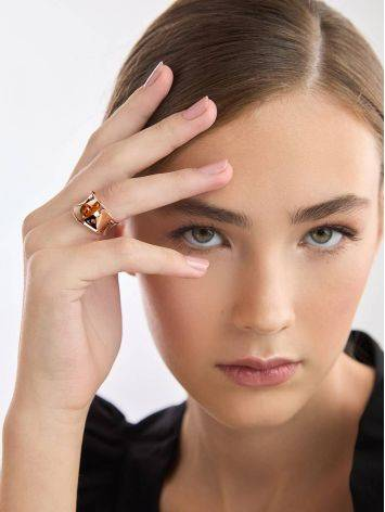 Stylish Rose Plated Silver Amber Ring The Palazzo, Ring Size: Adjustable, image , picture 3