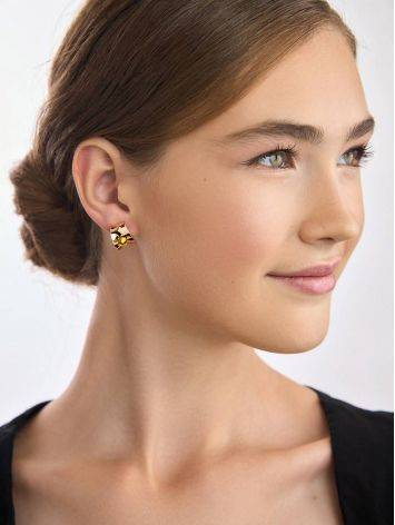 Bright Rose Plated Silver Amber Stud Hoop Earrings The Palazzo, image , picture 4