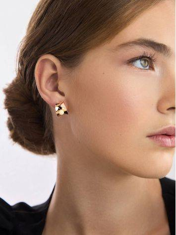 Rose Gold Silver Stud Hoop Earrings The Palazzo, image , picture 4