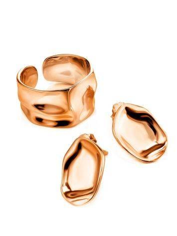 Textured Rose Gold Plated Silver Stud Earrings The Liquid, image , picture 3