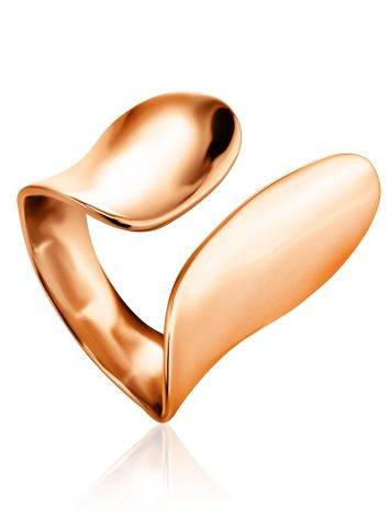 Chic Rose Gold Plated Silver Ring The Liquid, Ring Size: Adjustable, image