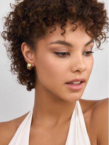 Chunky Gilded Silver Half Hoop Earrings The ICONIC, image , picture 3