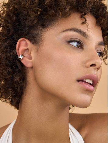 Glossy Wide Silver Ear Cuff The Liquid, image , picture 3