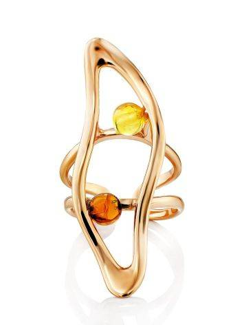 Bright Rose Gold Plated Amber Ring The Palazzo, Ring Size: Adjustable, image , picture 4