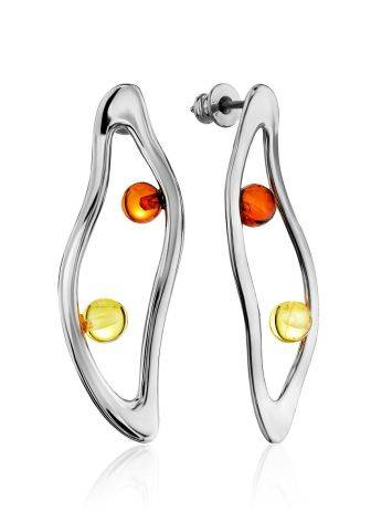 Curvaceous Silver Amber Stud Earrings The Palazzo, image