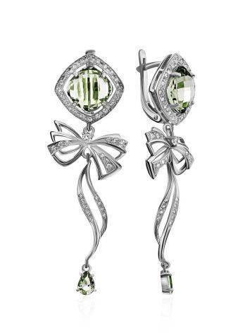 Chic Green Amethyst Dangle Earrings, image