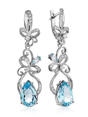 Refined Silver Topaz Drop Earrings, image