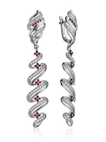 Chic Two Tone Crystal Dangle Earrings, image