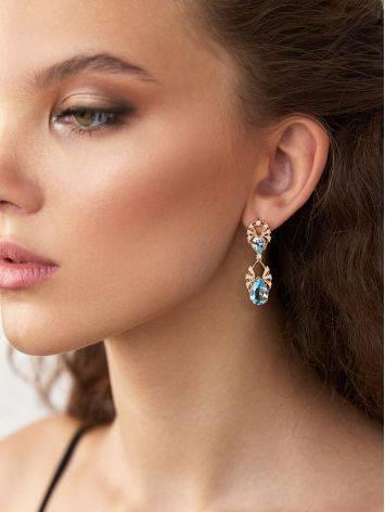 Elegant Gilded Silver Topaz Dangle Earrings, image , picture 3