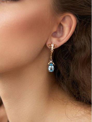 Exquisite Gilded Silver Topaz Drop Earrings, image , picture 3