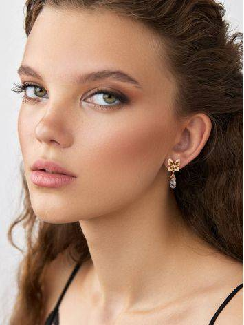 Romantic Design Gilded Silver Crystal Stud Earrings, image , picture 3