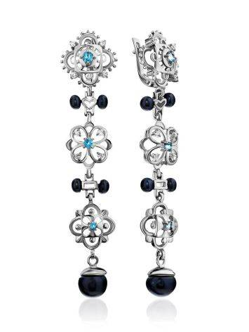 Vintage Style Silver Pearl Dangle Earrings, image