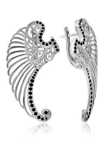 Wing Motif Silver Earrings, image