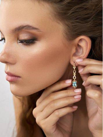 Gorgeous Gilded Silver Topaz Dangle Earrings, image , picture 3