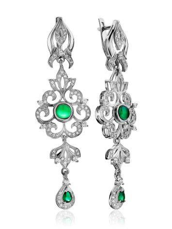 Filigree Silver Agate Dangle Earrings, image