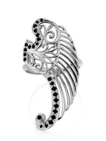 Wing Motif Silver Crystal Ring, Ring Size: 6.5 / 17, image , picture 4