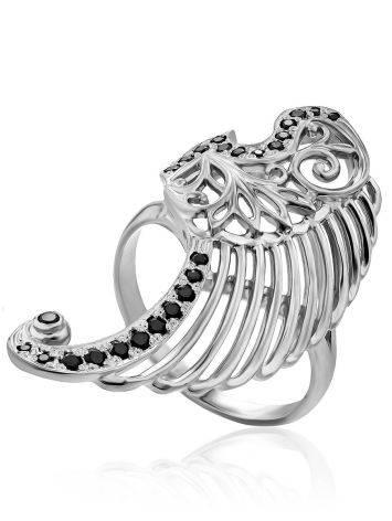 Wing Motif Silver Crystal Ring, Ring Size: 6.5 / 17, image