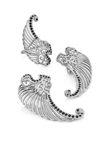Wing Motif Silver Earrings, image , picture 4