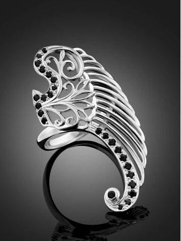 Wing Motif Silver Crystal Ring, Ring Size: 6.5 / 17, image , picture 2