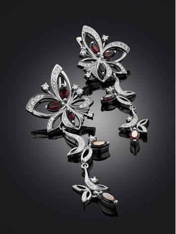 Ultra Feminine Silver Garnet Dangle Earrings, image , picture 2