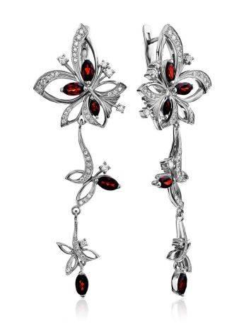 Ultra Feminine Silver Garnet Dangle Earrings, image